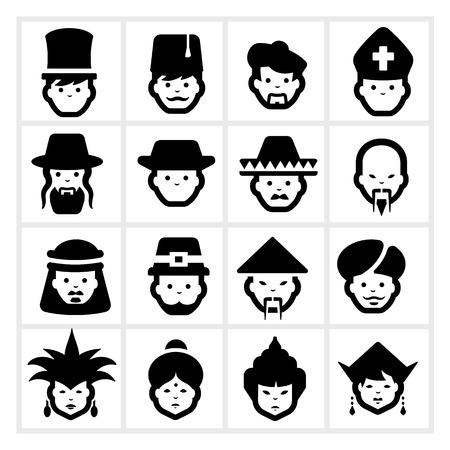 Iconos de la gente de cinco Ilustración de vector