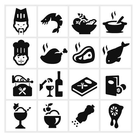 ensaladas de frutas: Iconos de restaurante de dos