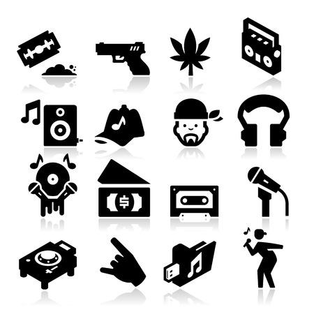 baile hip hop: Rap Music Icons Vectores