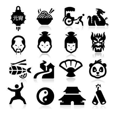 tempels: Chinese iconen Stock Illustratie