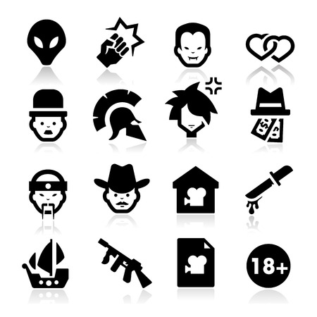 Movies Genres Icons Vector