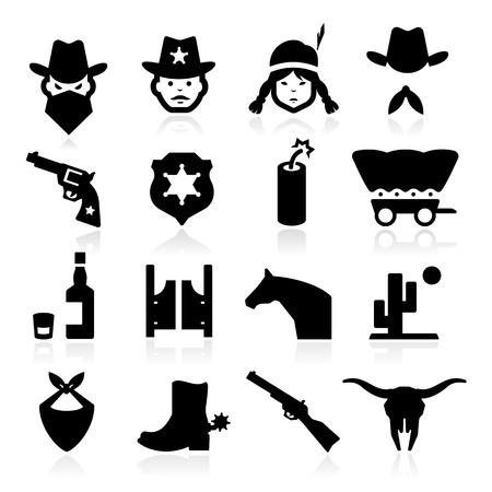 Cowboy Pictogrammen Vector Illustratie