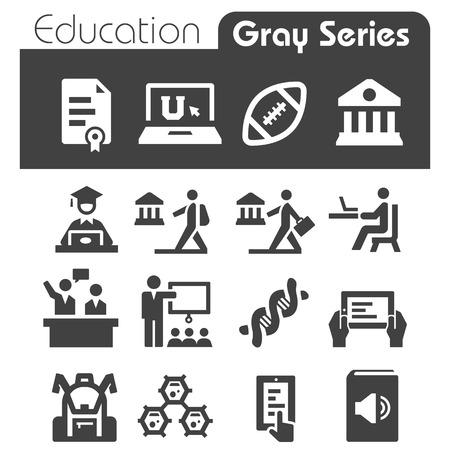 教育アイコン Gray シリーズ  イラスト・ベクター素材