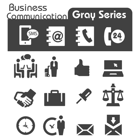 Business Communication Icons Gray Series Vector