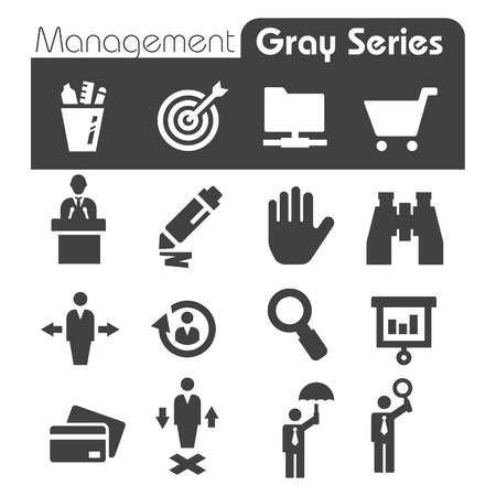 Management Icons Gray Series Vector