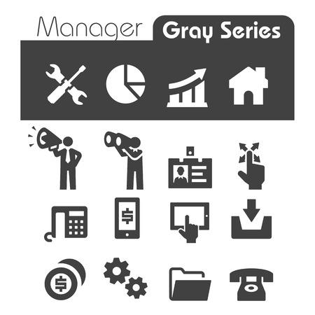 hombres ejecutivos: Iconos del Administrador de Gray Series Vectores