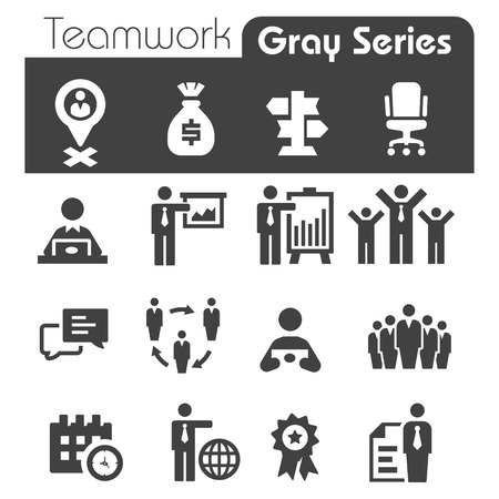 Trabajo en equipo Iconos Gray Series Foto de archivo - 25435257