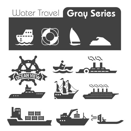 Water Travel Icons Gray series Vector