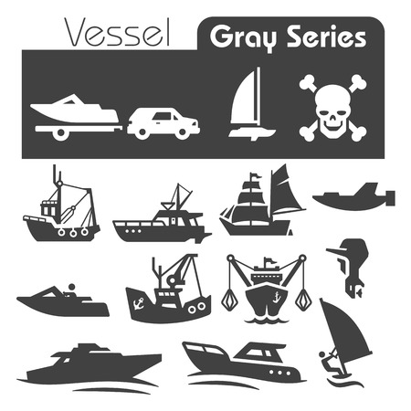 vessels Icons Gray Series Vector