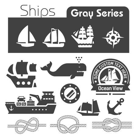 Ships icons gray series  Vector