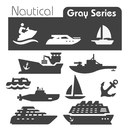 water transportation: Nautical icons gray series  Illustration