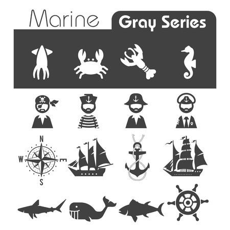 Marine Icons Gray series Vector