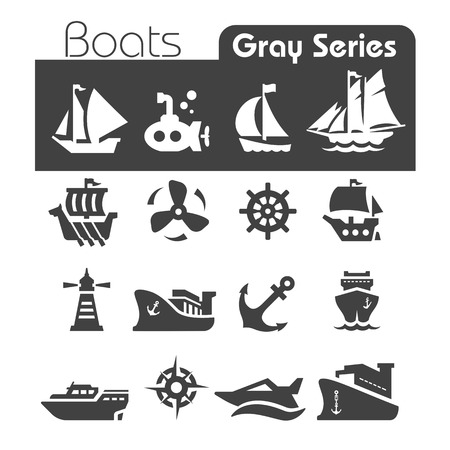 Boats Icons Gray series Vector