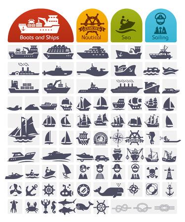 Navi e Imbarcazioni serie di icone Bulk - oltre 80 icone di alta qualità Vettoriali