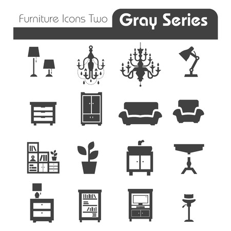 Furniture Icons gray series two Vector
