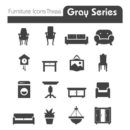 Meubilair Pictogrammen grijze reeks Drie Stock Illustratie