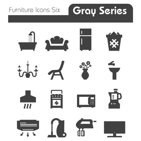 Meubilair Pictogrammen grijze reeks van zes