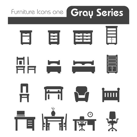 Furniture Icons gray series one Vector
