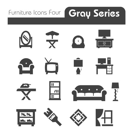 Furniture Icons gray series four Vector