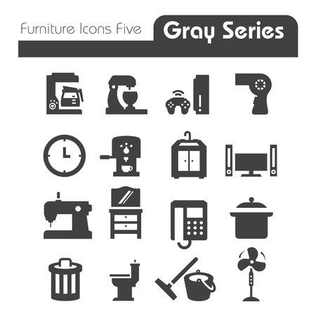 Apparaten en meubels Icons grijze reeks Vijf