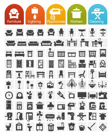 cleaning window: Furniture and home appliances Icons - Bulk series