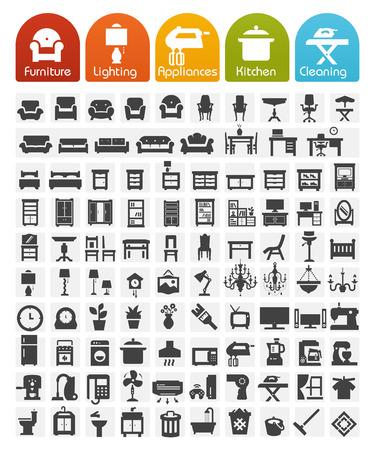 icone: Mobili e elettrodomestici icone - serie Bulk Vettoriali