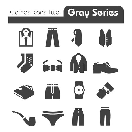 Clothes Icons Gray Series Two Vector