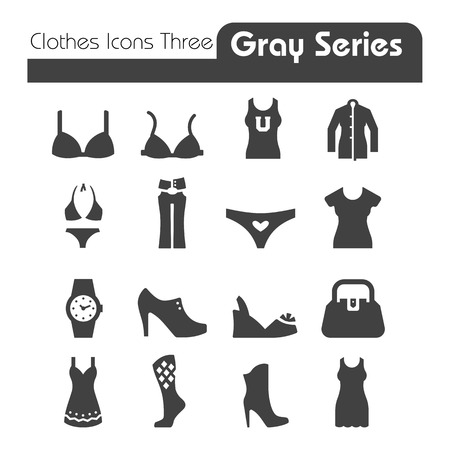 Clothes Icons Gray Series Three  Vector