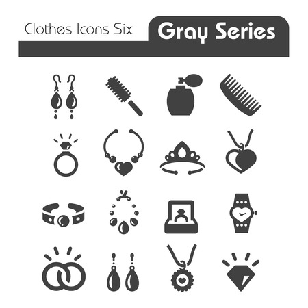 pictogramme: Vêtements icônes gris série Six