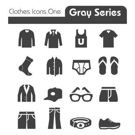 Clothes Icons Gray Series One Vector