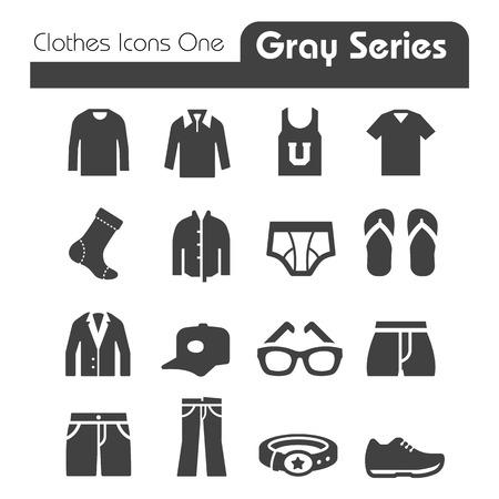 Kleren Pictogrammen Gray Series One Stock Illustratie
