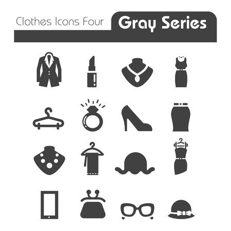 옷 아이콘 회색 시리즈 네 일러스트