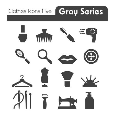 Kleren Pictogrammen Gray Series vijf