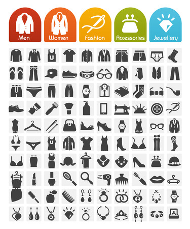 Clothes Icons Bulk Series - 100 Icons Stock fotó - 27357791