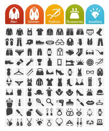 icon set: Kleren Pictogrammen Bulk Reeks - 100 Pictogrammen Stock Illustratie