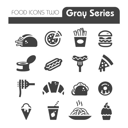 ファーストフードのアイコンが灰色シリーズ