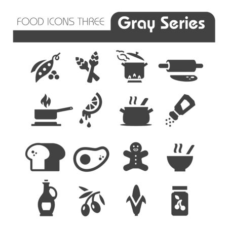 food icons: Food Icons Gray Series Three Illustration
