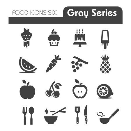 Voedsel Pictogrammen Gray-serie van zes