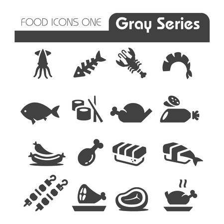 squid: Meat Icons Gray Series Illustration