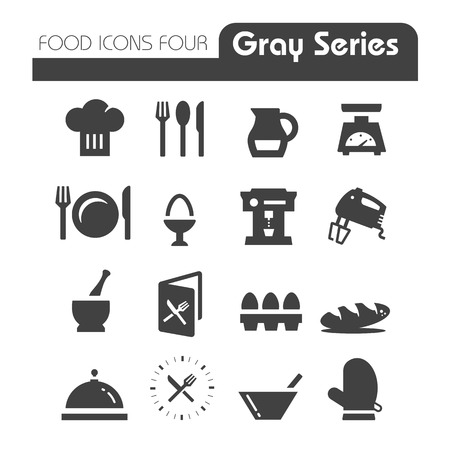 gray scale: Food Icons Gray Series Four