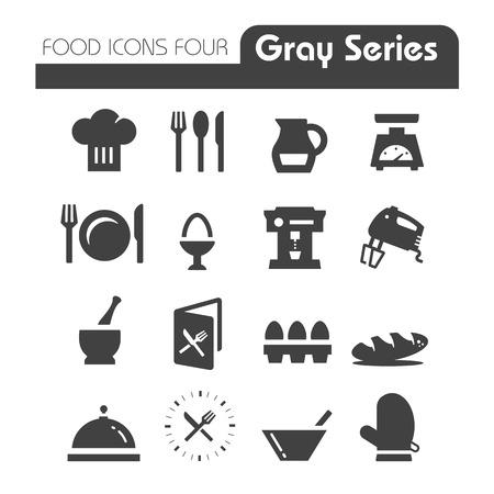 Voedsel Pictogrammen Gray Series Four Stock Illustratie
