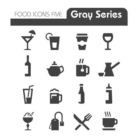 Drinken Icons Gray serie Stock Illustratie
