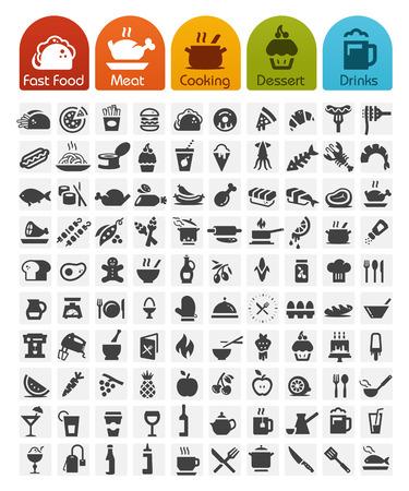 Serie di massa di icone di cibo - 100 icone Vettoriali