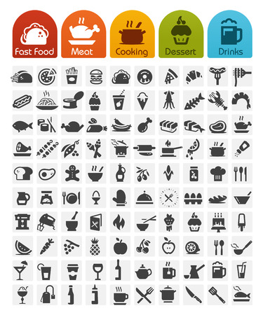 Voedsel Pictogrammen bulk serie - 100 iconen Stock Illustratie