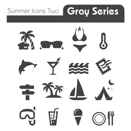 Summer Icons Two gray series Two Vector