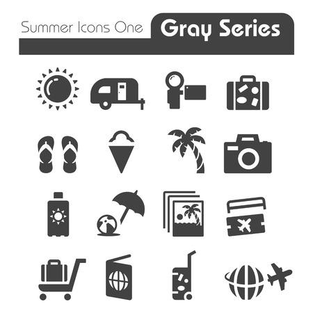 Zomer Pictogrammen Een grijze reeks Stock Illustratie