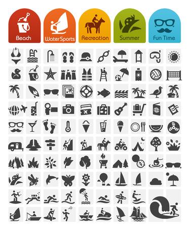 travel icon: Zomer Pictogrammen Bulk Reeks