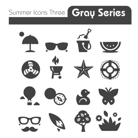 Summer Icons three gray series  Vector