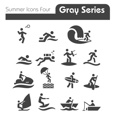 Zomer Pictogrammen Vier grijze reeks
