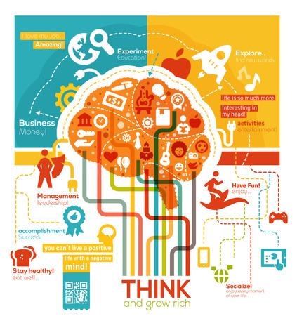 lider: Ilustraci�n Cerebro Creativo Vectores